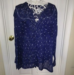 Blue tunic with white and blue pattern